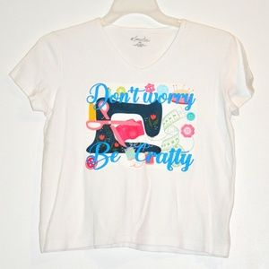 Don't Worry Be Crafty Tee Petite Small